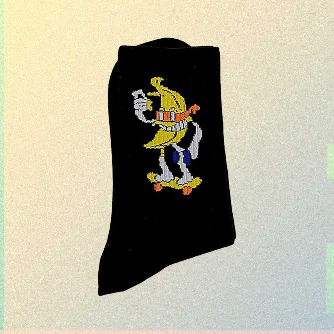 SKATER BANANA EMBROIDERY BLACK AESTHETIC SOCKS
