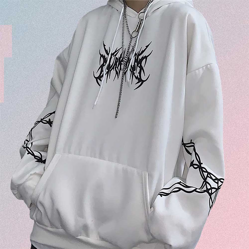 WHITE BARBED WIRE PRINT HOODIE
