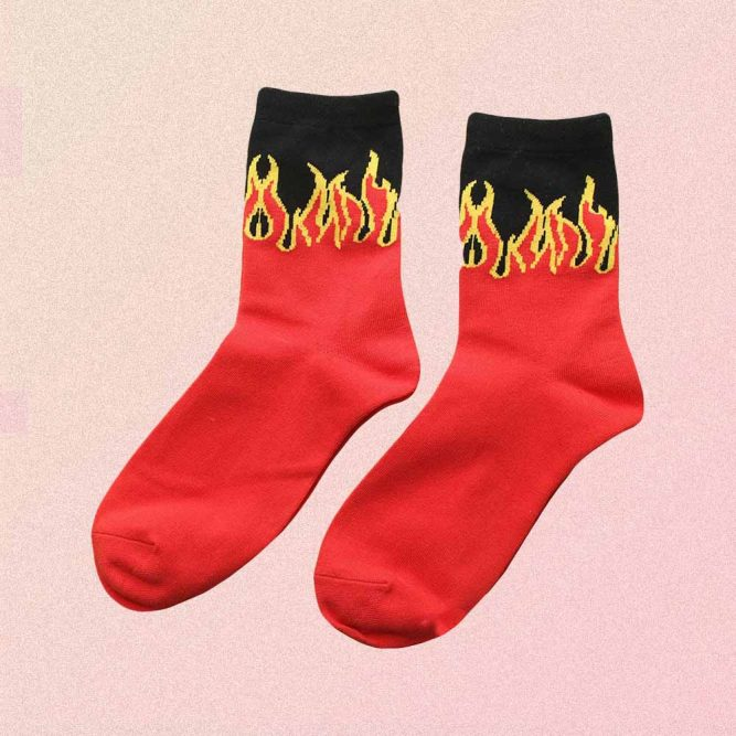 YELLOW FLAME RED AESTHETIC SKATE SOCKS