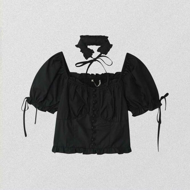 BLACK COTTAGEGORE AESTHETIC LOOSE BLOUSE
