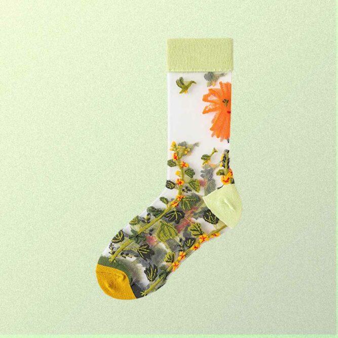 JAPAN FLOWERS PRINT TRANSPARENT ULTRA-THIN SOCKS