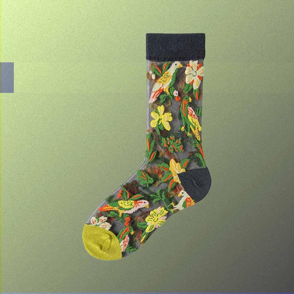 JAPAN GREEN FLOWERS AND BIRD PRINT TRANSPARENT ULTRA-THIN SOCKS