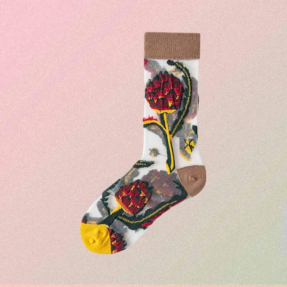 JAPAN PINE FLOWER PRINT TRANSPARENT ULTRA-THIN SOCKS