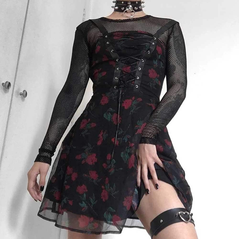 ROSES PATTERN BLACK AESTHETIC SLEEVELESS LACE UP DRESS