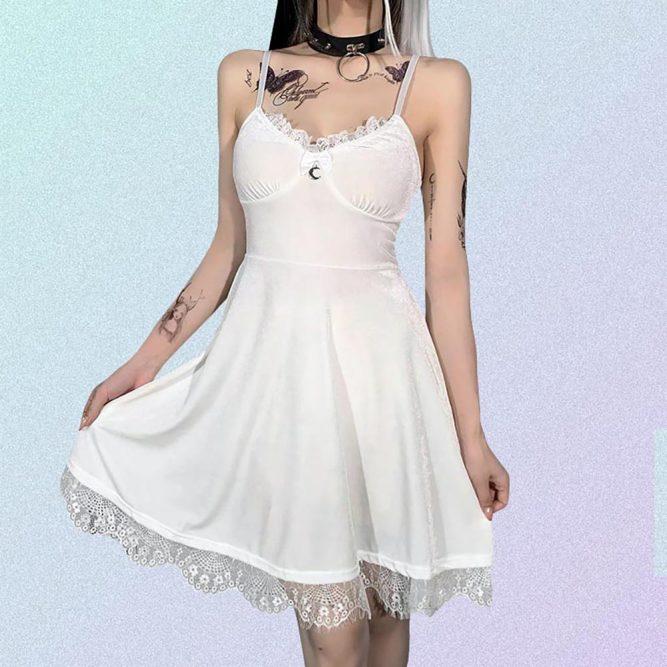 WHITE PALE GOTH AESTHETIC VELVET LACE DRESS